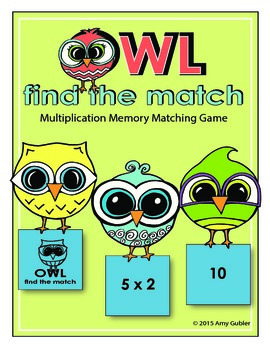 Owl Find the Match (multiplication memory matching game)