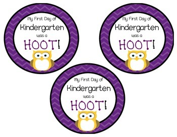 Owl First Day of Kindergarten Necklace/Badge