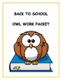 Owl First Day of School / Back to School Work Packet