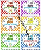 Owl Folder Labels: 6 per sheet