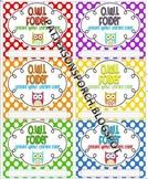 Owl Folder Labels: 6 per sheet