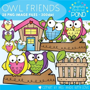 Owl Friends Clipart Set