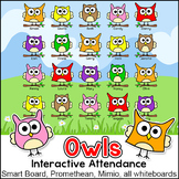 Owl Theme Attendance with Optional Lunch Count for Interactive Whiteboards