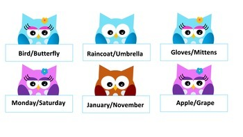 Owl Fun-Sequencing, Compare/Contrast, Object Identification, and Attributes