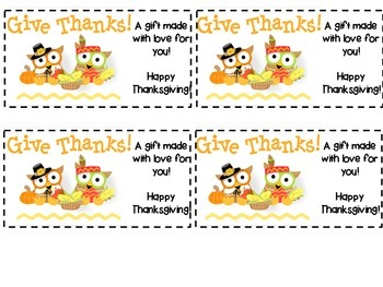 Owl Give Thanks Tags