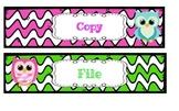 Owl Grade, Copy, File, Plastic Drawer Labels