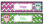 Owl Grade, Copy, File, Plastic Drawer Labels