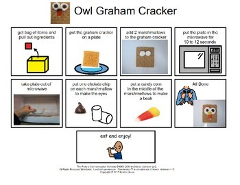 Owl Graham Cracker Snack Instruction and Comprehension Bundle