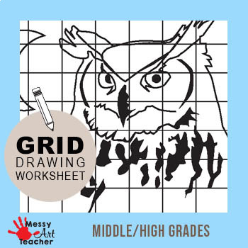 Owl Grid Drawing Worksheet for Middle/High Grades