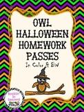 Owl Halloween Homework Passes