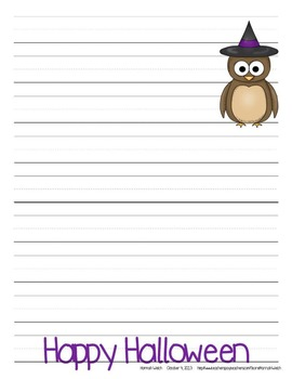 Owl Halloween Writing Papers