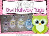 Owl Hallway Display Tags [Editable]