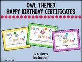 Owl Happy Birthday Certificates