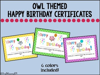 Owl Happy Birthday Certificates