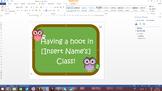 "Owl ""Having a hoot"" Classroom sign"