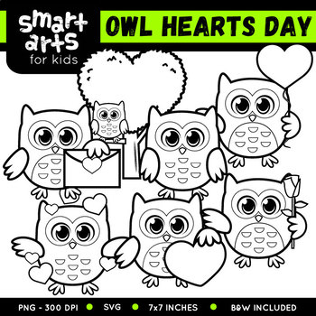 Owl Hearts Day Clip Art
