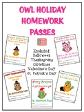 Owl Holiday Homework Passes