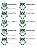Owl Homework Folder Lables