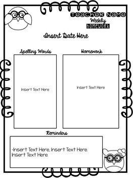 Owl Homework Template