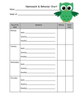 Owl Homework/Behavior Form