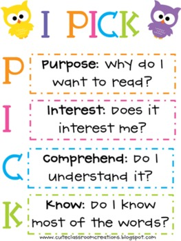 owl i pick poster freebie by bright ideas in third grade