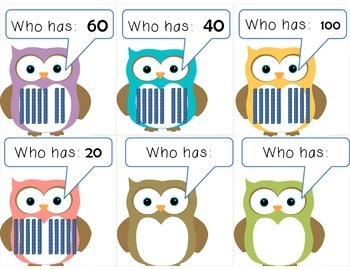 Owl:  I have ____.  Who has ____?  Decade #'s and Base Ten Blocks