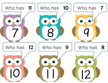 Owl:  I have ____.  Who has ____?  FREE set 1-12