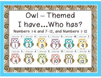 Owl:  I have ____.  Who has ____?  FREE set 1-12