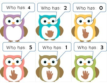Owl:  I have ____.  Who has ____?  Set: 0-5 / 1-6