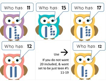 Owl:  I have ____.  Who has ____?  Teen #'s and Base Ten Blocks