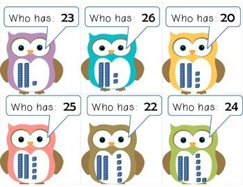 Owl:  I have ____.  Who has ____?  Twenties and Base Ten Blocks