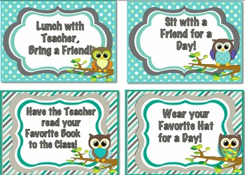Owl Incentive Cards - Editable