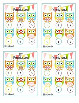Owl Incentive Punch Cards