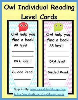 Owl Individual Reading Level Cards