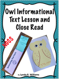 Owl Nonfiction Article and Close Read With Interactive Notebook Flaps