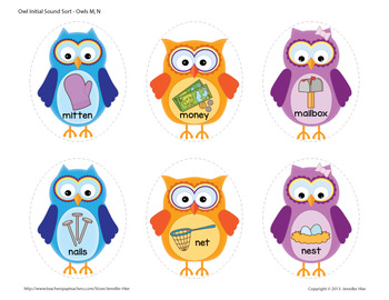 Owls Beginning Sound Sorting Activity