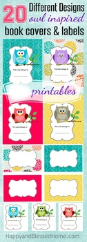 Owl Inspired Book Labels and Covers