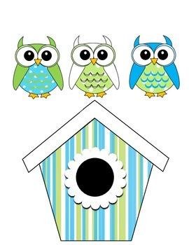 Owl Job Assignment Bulletin Board (Blue & Green)