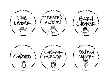 Classroom Job Board - Owl Themed Labels