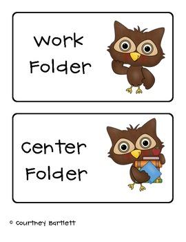 Owl Journal and Folder Labels freebie