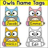 Owl Theme Name Tags & Locker Labels - Editable Classroom Decor