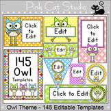 Owl Theme Classroom Editable Labels for signs, name tags, classroom jobs etc
