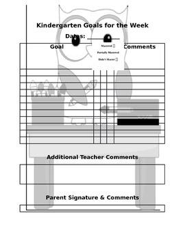 Owl Kindergarten Goals Template