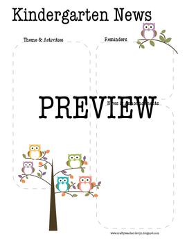Owl Kindergarten Newsletter Template