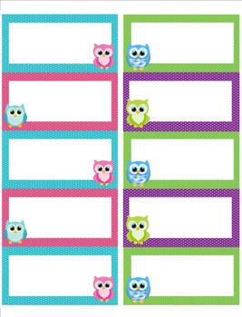 Owl label name tags by first grade is a hoot teachers for Locker tag templates