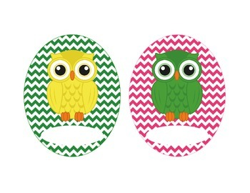 Owl Labels, Bright Chevron
