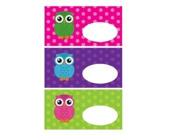Owl Labels, Bright Polka Dots