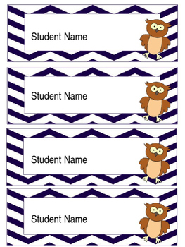 Owl Labels (Editable Chevron and Polka Dot colours)