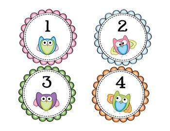 Owl Labels with Classroom Numbers (for Cubbies or Book Bins) 1-36