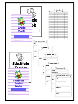 Owl Lesson Plan Book, Grade Book, Substitute Teacher Binder {Customizable}